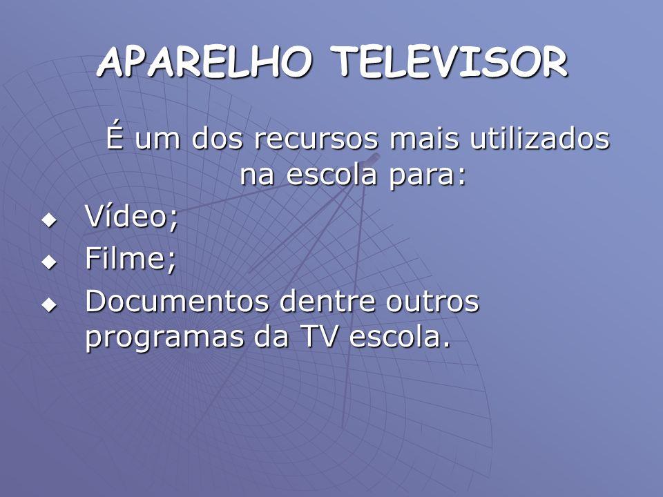 APARELHO TELEVISOR É um dos recursos mais utilizados na escola para: É um dos recursos mais utilizados na escola para: Vídeo; Vídeo; Filme; Filme; Doc