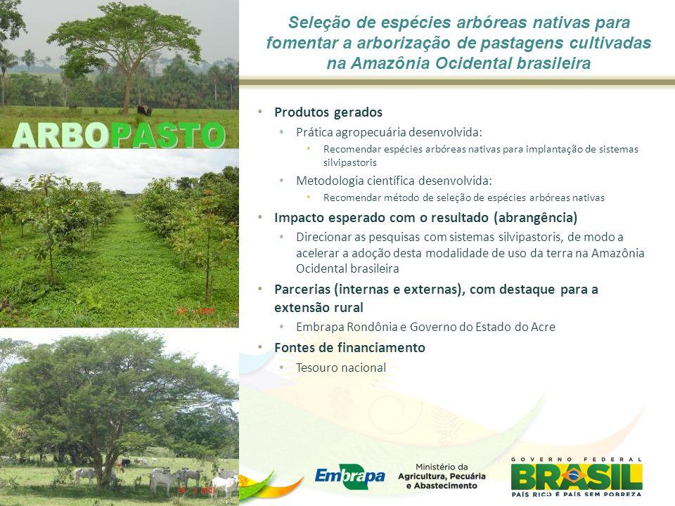 Seleção de espécies arbóreas nativas para fomentar a arborização de pastagens cultivadas na Amazônia Ocidental brasileira Produtos gerados Prática agr