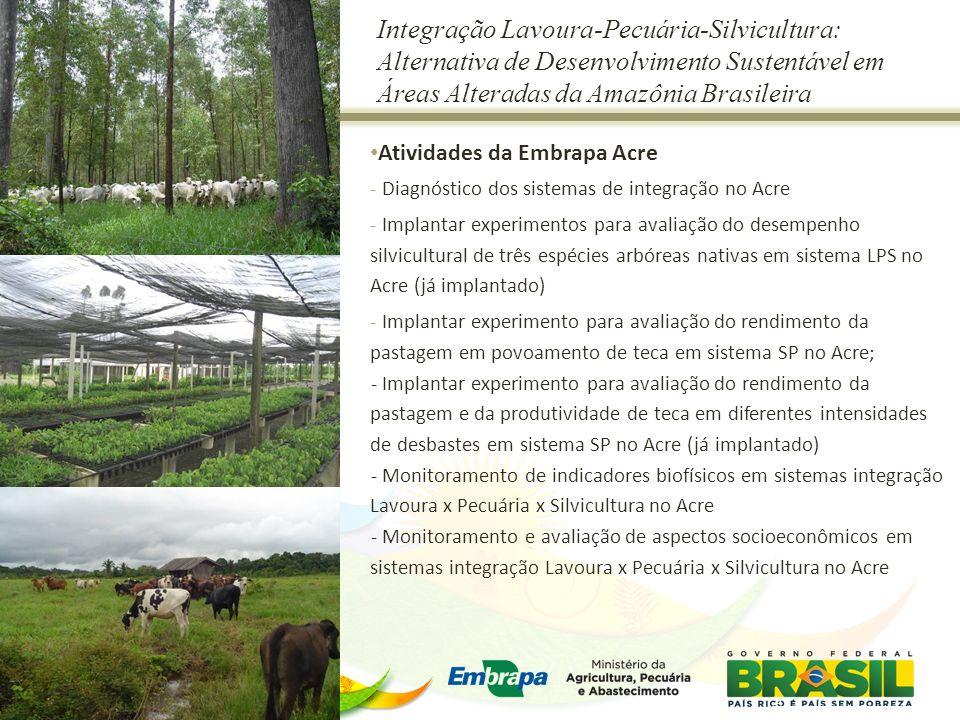 Integração Lavoura-Pecuária-Silvicultura: Alternativa de Desenvolvimento Sustentável em Áreas Alteradas da Amazônia Brasileira Atividades da Embrapa A