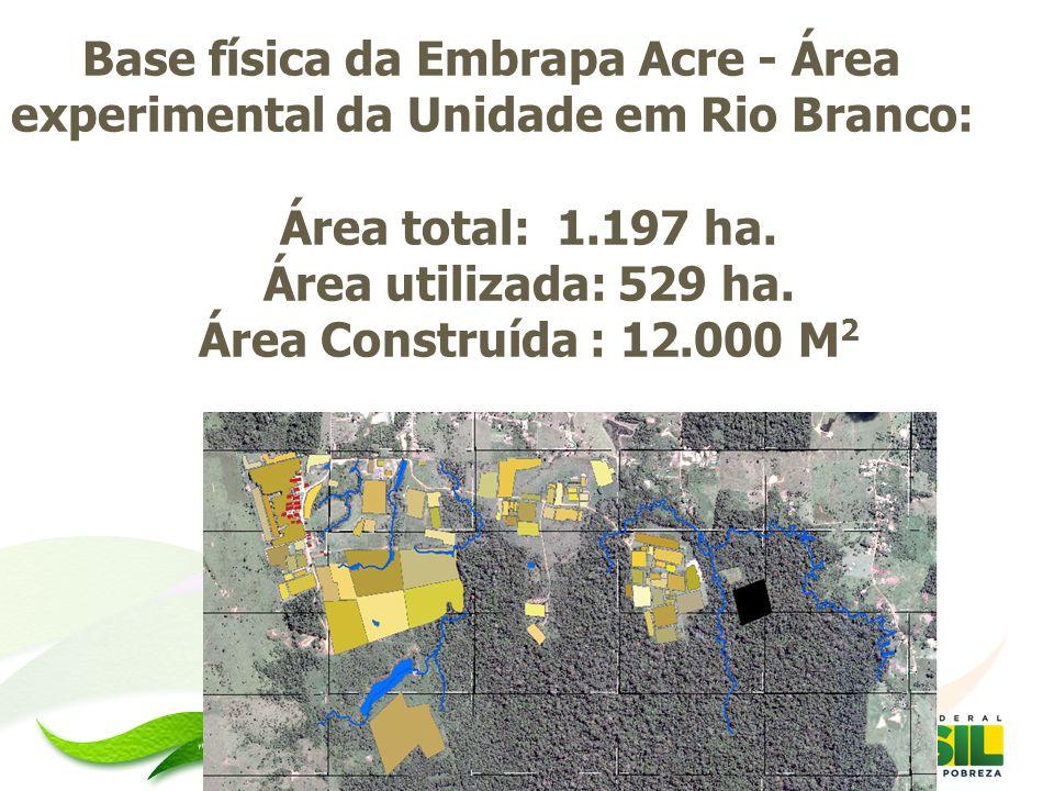 Base física da Embrapa Acre - Área experimental da Unidade em Rio Branco: Área total: 1.197 ha. Área utilizada: 529 ha. Área Construída : 12.000 M 2