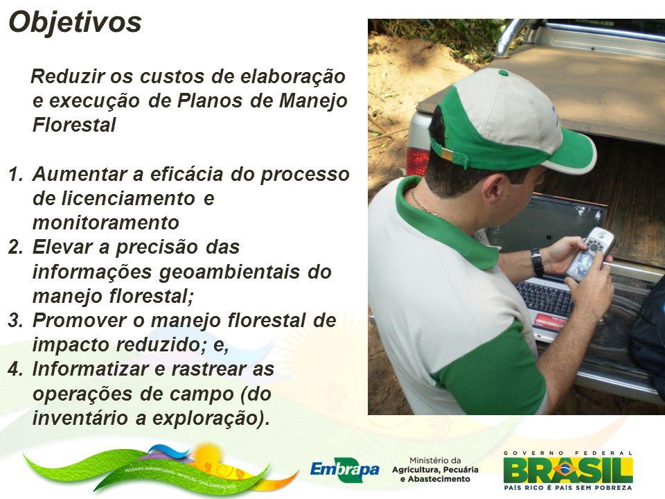 Objetivos Reduzir os custos de elaboração e execução de Planos de Manejo Florestal 1.Aumentar a eficácia do processo de licenciamento e monitoramento