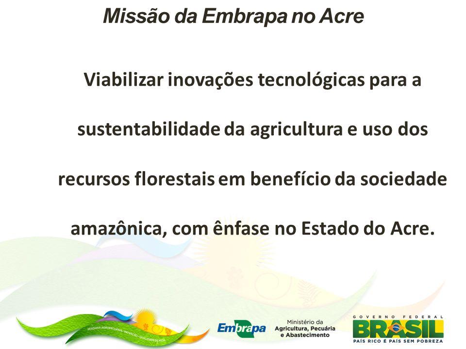 Missão da Embrapa no Acre Viabilizar inovações tecnológicas para a sustentabilidade da agricultura e uso dos recursos florestais em benefício da socie