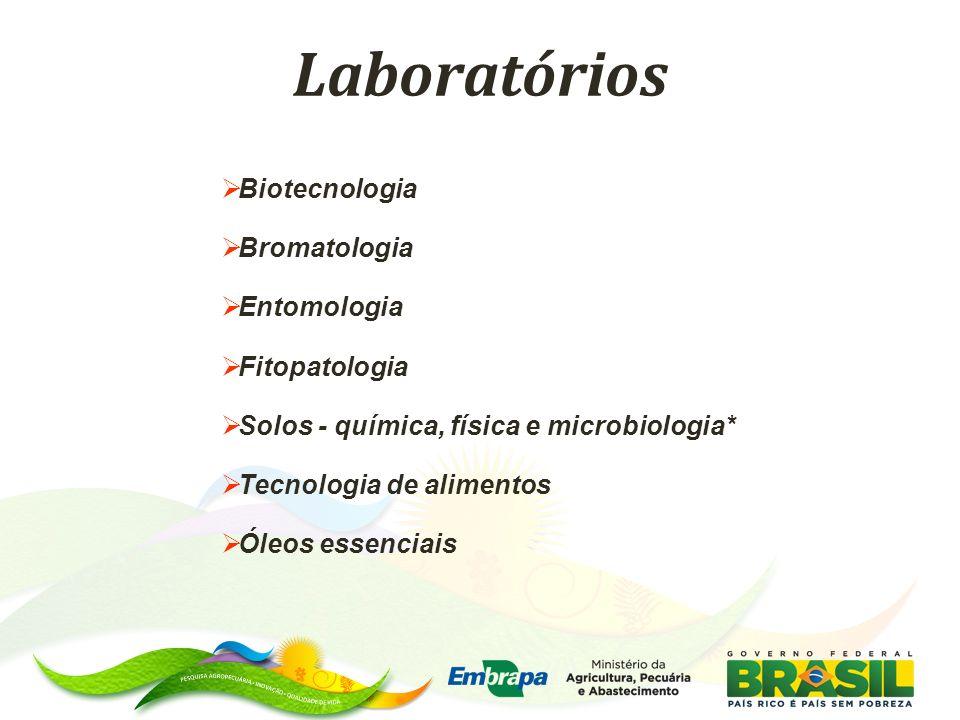 Laboratórios Biotecnologia Bromatologia Entomologia Fitopatologia Solos - química, física e microbiologia* Tecnologia de alimentos Óleos essenciais