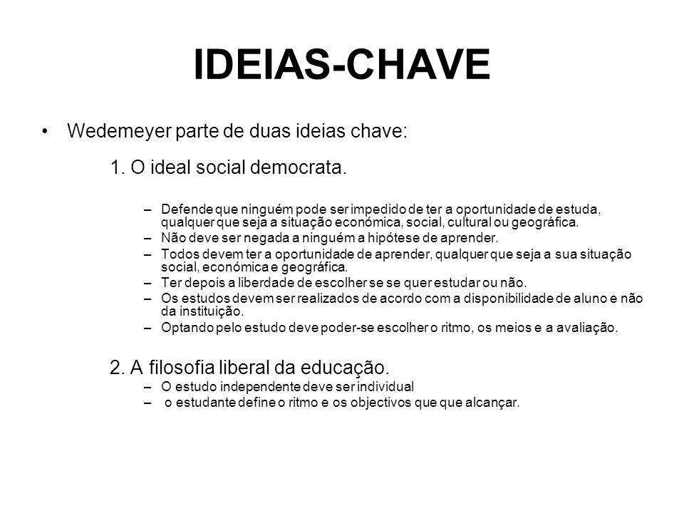 IDEIAS-CHAVE Wedemeyer parte de duas ideias chave: 1. O ideal social democrata. –Defende que ninguém pode ser impedido de ter a oportunidade de estuda