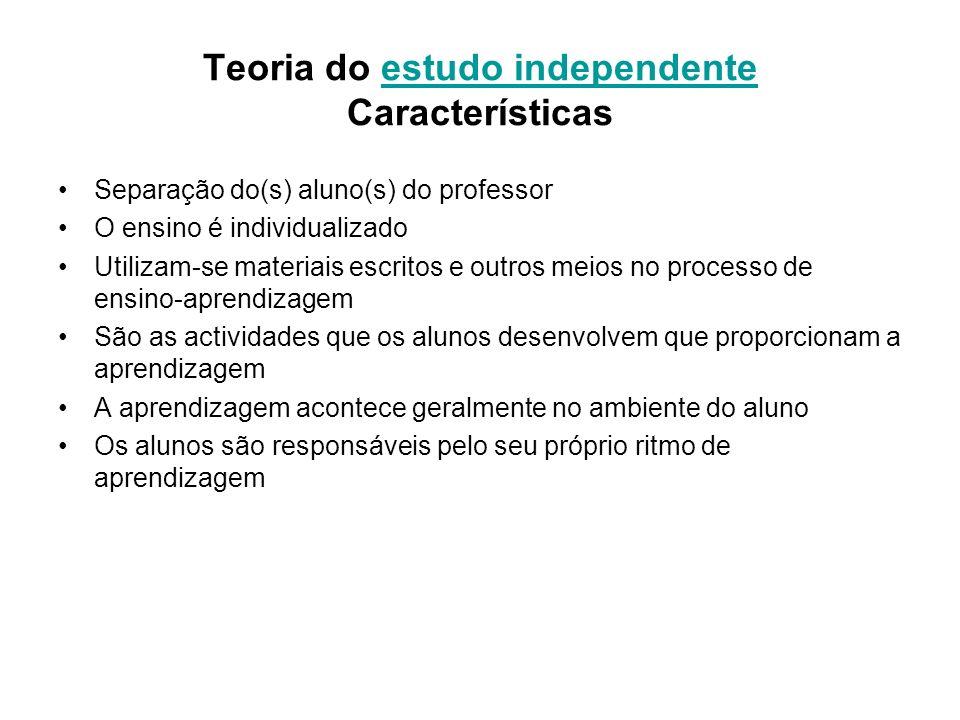 Teoria do estudo independente Característicasestudo independente Separação do(s) aluno(s) do professor O ensino é individualizado Utilizam-se materiai