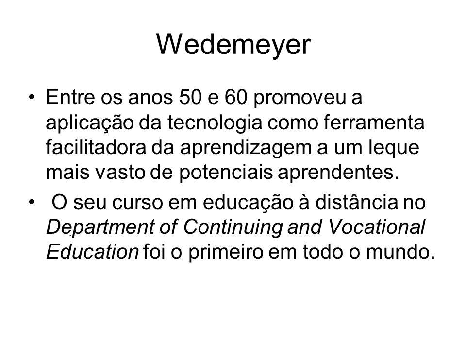 Wedemeyer Entre os anos 50 e 60 promoveu a aplicação da tecnologia como ferramenta facilitadora da aprendizagem a um leque mais vasto de potenciais ap