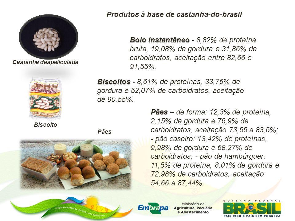 Produtos à base de castanha-do-brasil Bolo instantâneo Bolo instantâneo - 8,82% de proteína bruta, 19,08% de gordura e 31,86% de carboidratos, aceitação entre 82,66 e 91,55%.