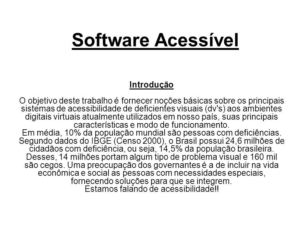 Software Acessível Introdução O objetivo deste trabalho é fornecer noções básicas sobre os principais sistemas de acessibilidade de deficientes visuai