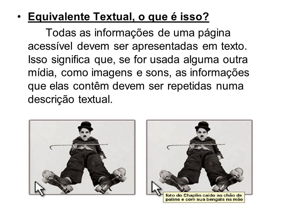 Equivalente Textual, o que é isso? Todas as informações de uma página acessível devem ser apresentadas em texto. Isso significa que, se for usada algu