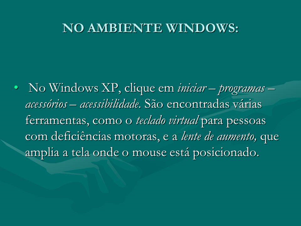 NO AMBIENTE WINDOWS: No Windows XP, clique em iniciar – programas – acessórios – acessibilidade. São encontradas várias ferramentas, como o teclado vi