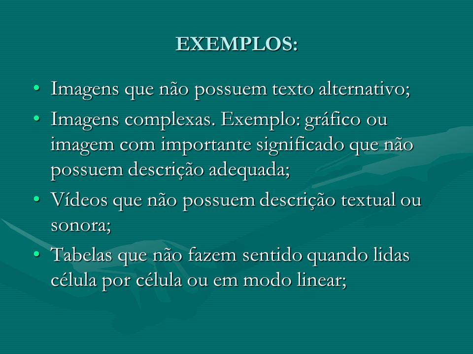 EXEMPLOS: Imagens que não possuem texto alternativo;Imagens que não possuem texto alternativo; Imagens complexas. Exemplo: gráfico ou imagem com impor