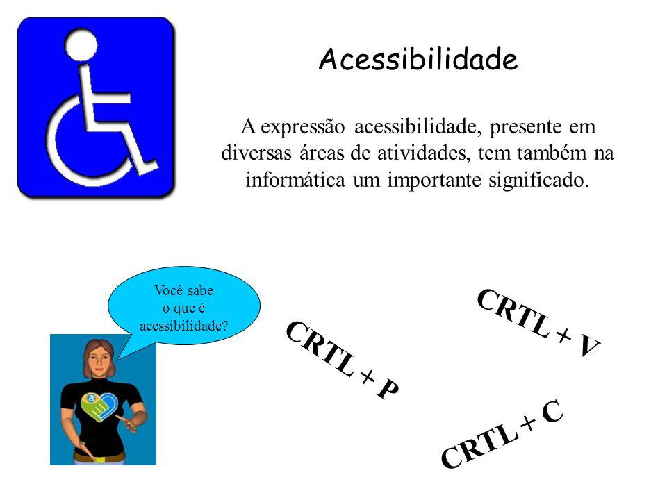 Acessibilidade A expressão acessibilidade, presente em diversas áreas de atividades, tem também na informática um importante significado. CRTL + P Voc