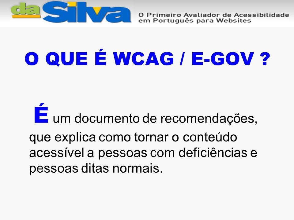 O QUE É WCAG / E-GOV .
