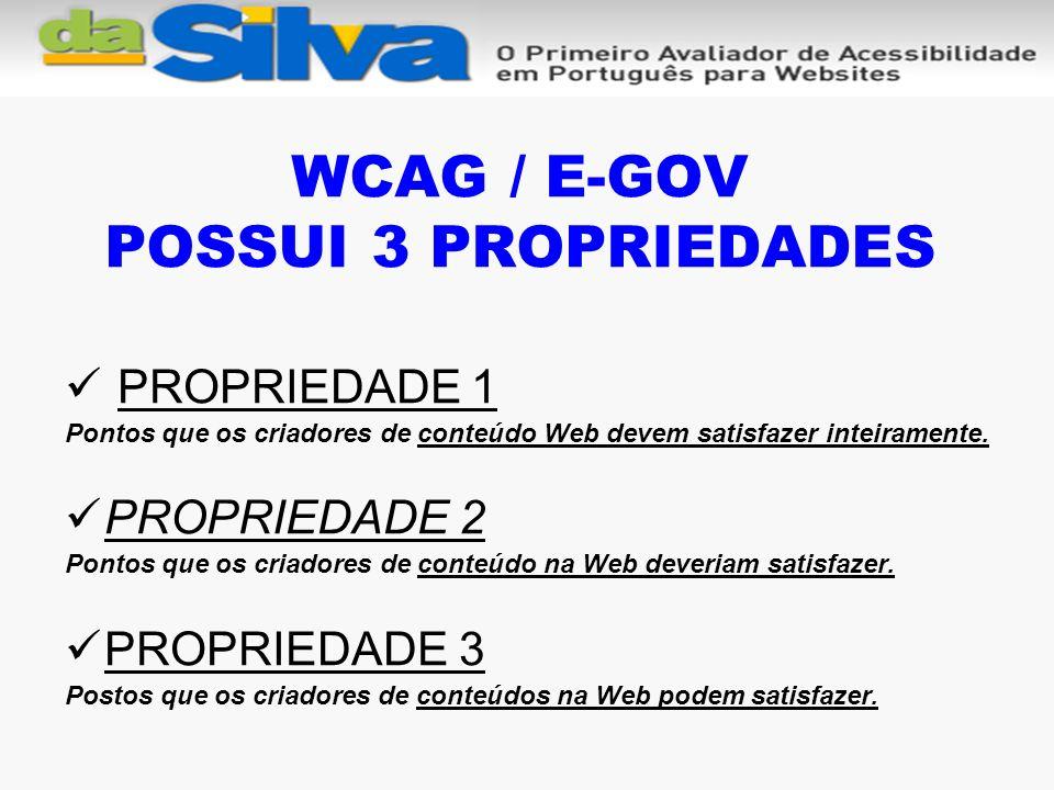 WCAG / E-GOV POSSUI 3 PROPRIEDADES PROPRIEDADE 1 Pontos que os criadores de conteúdo Web devem satisfazer inteiramente.