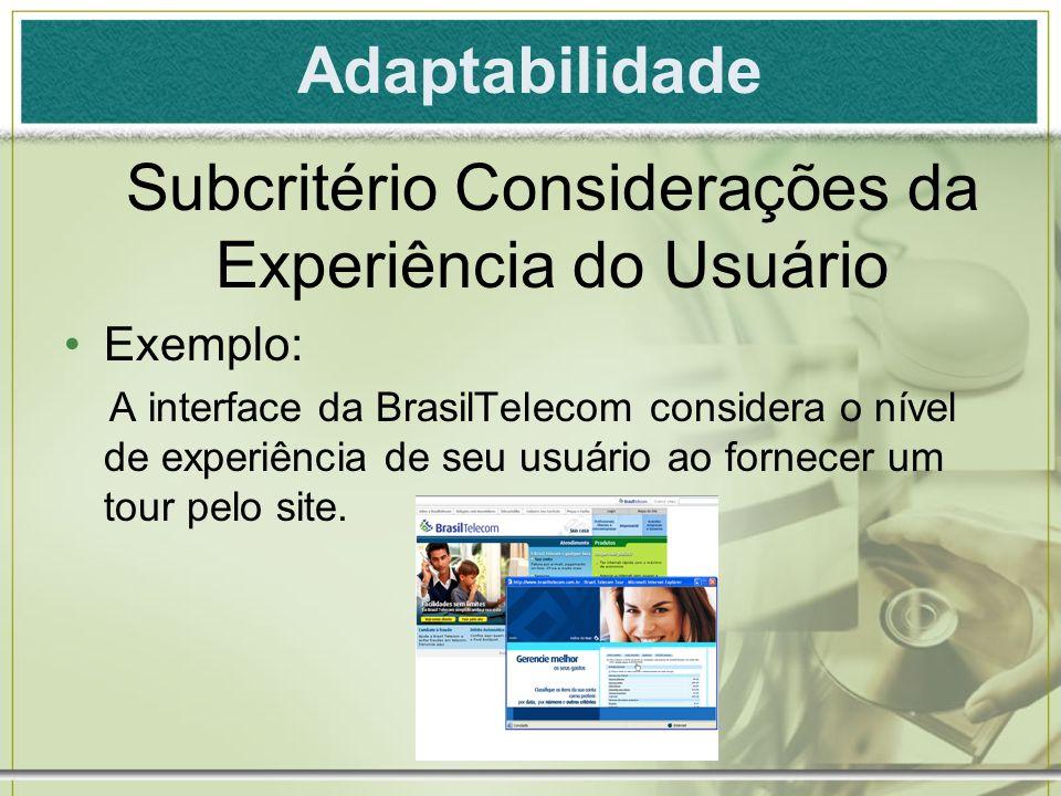 Adaptabilidade Exemplo: A interface da BrasilTelecom considera o nível de experiência de seu usuário ao fornecer um tour pelo site. Subcritério Consid