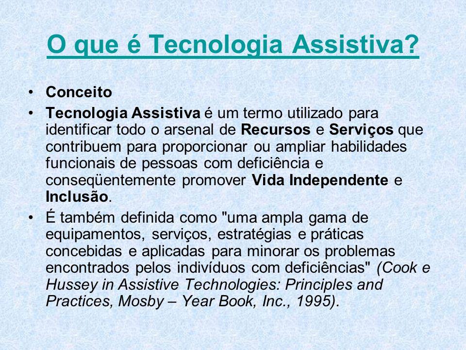 O que é Tecnologia Assistiva? Conceito Tecnologia Assistiva é um termo utilizado para identificar todo o arsenal de Recursos e Serviços que contribuem
