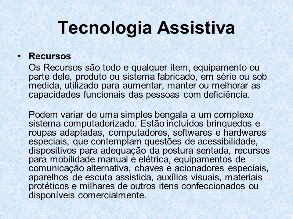 Tecnologia Assistiva Serviços Os Serviços são definidos como aqueles que auxiliam diretamente uma pessoa com deficiência a selecionar, comprar ou usar os recursos (instrumentos de tecnologia assistiva).