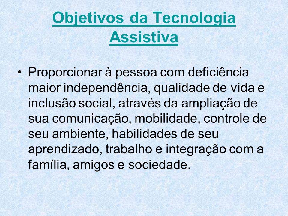 Objetivos da Tecnologia Assistiva Proporcionar à pessoa com deficiência maior independência, qualidade de vida e inclusão social, através da ampliação