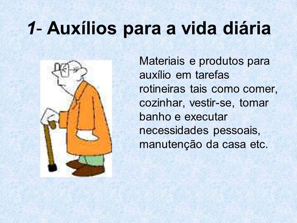 1- Auxílios para a vida diária Materiais e produtos para auxílio em tarefas rotineiras tais como comer, cozinhar, vestir-se, tomar banho e executar ne