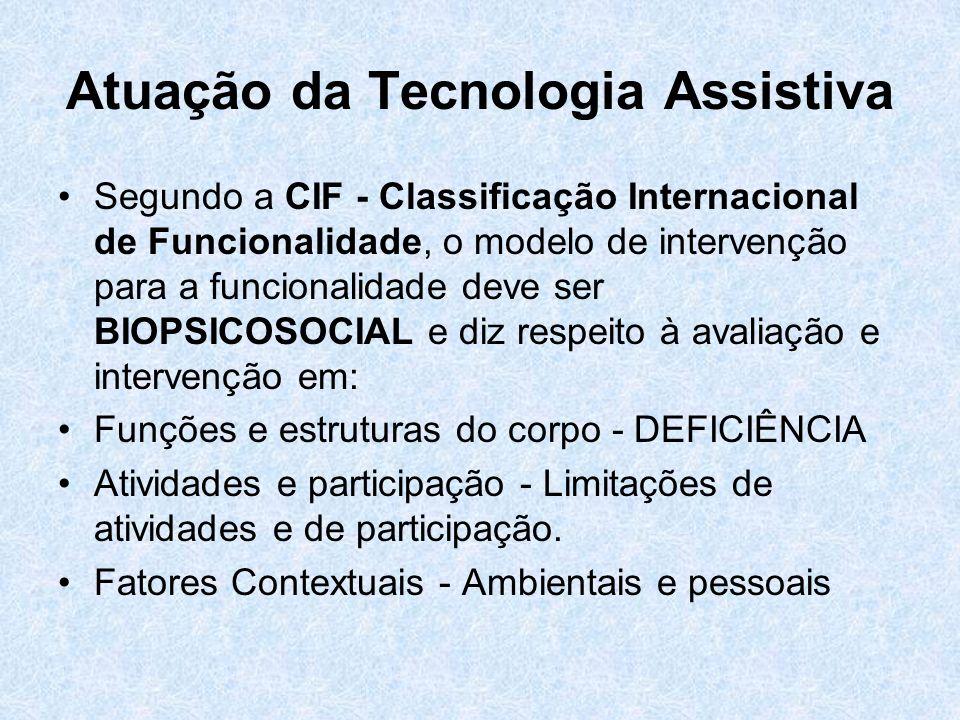 Atuação da Tecnologia Assistiva Segundo a CIF - Classificação Internacional de Funcionalidade, o modelo de intervenção para a funcionalidade deve ser