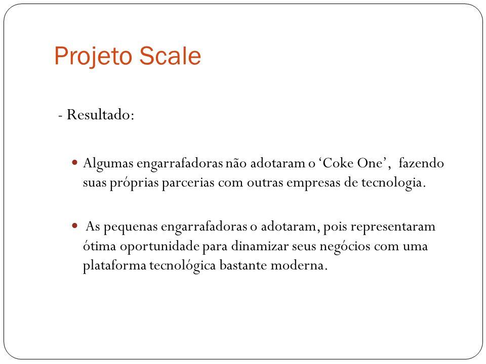 Projeto Scale - Resultado: Algumas engarrafadoras não adotaram o Coke One, fazendo suas próprias parcerias com outras empresas de tecnologia. As peque