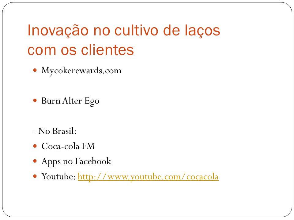 Inovação no cultivo de laços com os clientes Mycokerewards.com Burn Alter Ego - No Brasil: Coca-cola FM Apps no Facebook Youtube: http://www.youtube.c