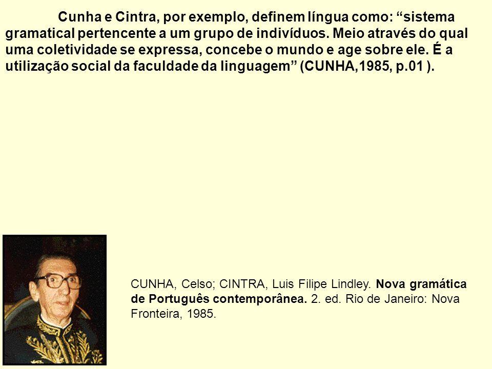 Cunha e Cintra, por exemplo, definem língua como: sistema gramatical pertencente a um grupo de indivíduos. Meio através do qual uma coletividade se ex