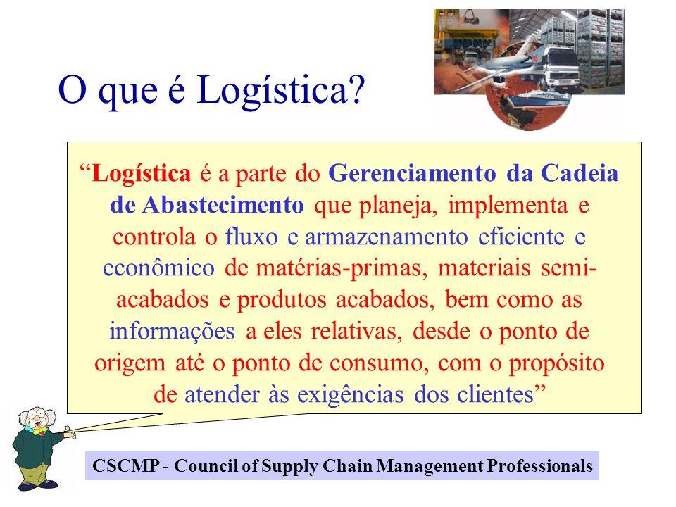 Logística é a parte do Gerenciamento da Cadeia de Abastecimento que planeja, implementa e controla o fluxo e armazenamento eficiente e econômico de ma