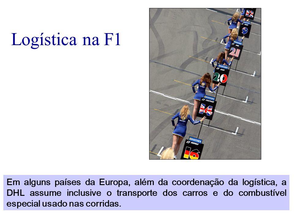 Logística na F1 Em alguns países da Europa, além da coordenação da logística, a DHL assume inclusive o transporte dos carros e do combustível especial