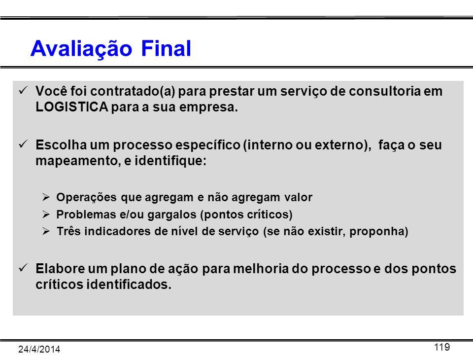 Avaliação Final Você foi contratado(a) para prestar um serviço de consultoria em LOGISTICA para a sua empresa. Escolha um processo específico (interno