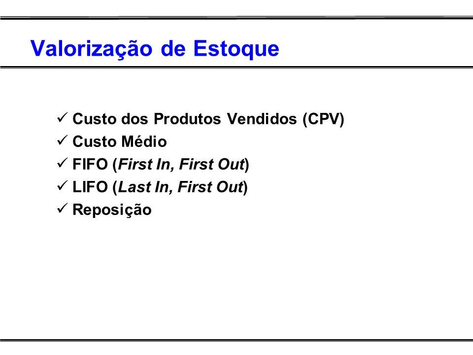 Valorização de Estoque Custo dos Produtos Vendidos (CPV) Custo Médio FIFO (First In, First Out) LIFO (Last In, First Out) Reposição