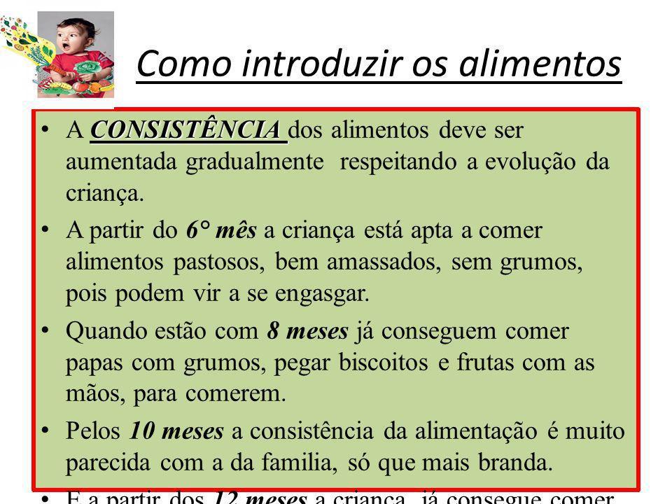 Como introduzir os alimentos CONSISTÊNCIAA CONSISTÊNCIA dos alimentos deve ser aumentada gradualmente respeitando a evolução da criança. A partir do 6
