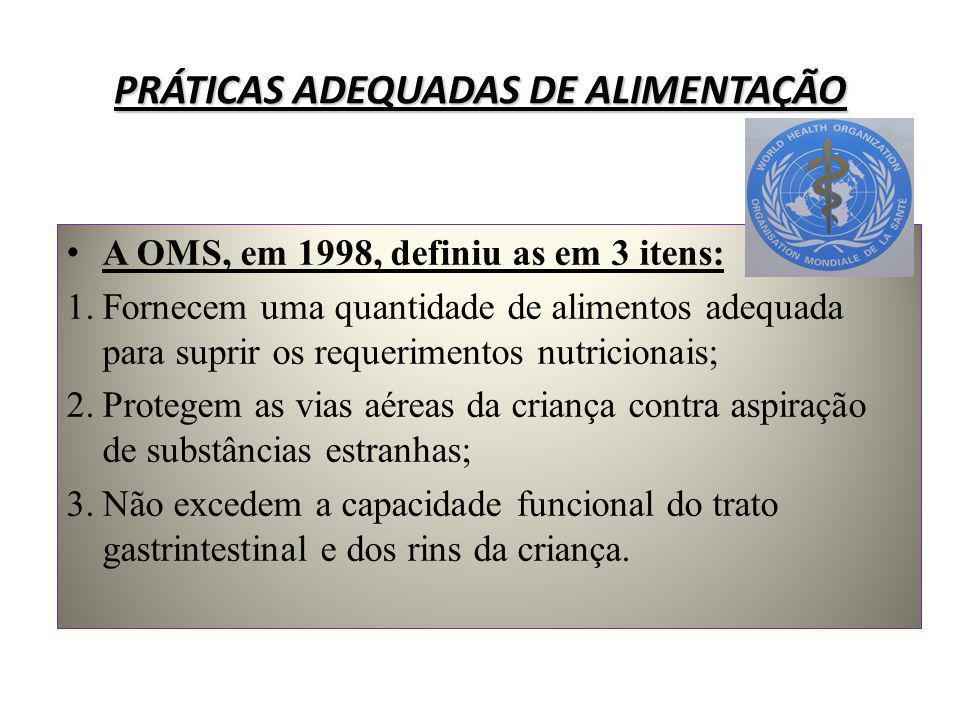 PRÁTICAS ADEQUADAS DE ALIMENTAÇÃO A OMS, em 1998, definiu as em 3 itens: 1. Fornecem uma quantidade de alimentos adequada para suprir os requerimentos