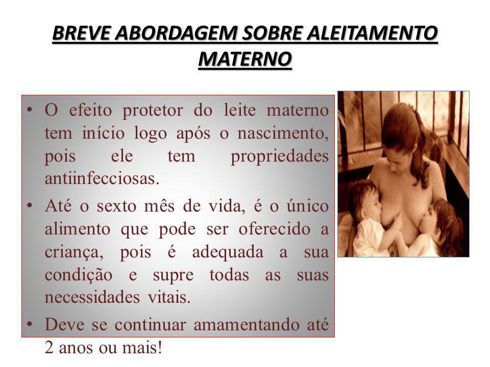 BREVE ABORDAGEM SOBRE ALEITAMENTO MATERNO O efeito protetor do leite materno tem início logo após o nascimento, pois ele tem propriedades antiinfeccio