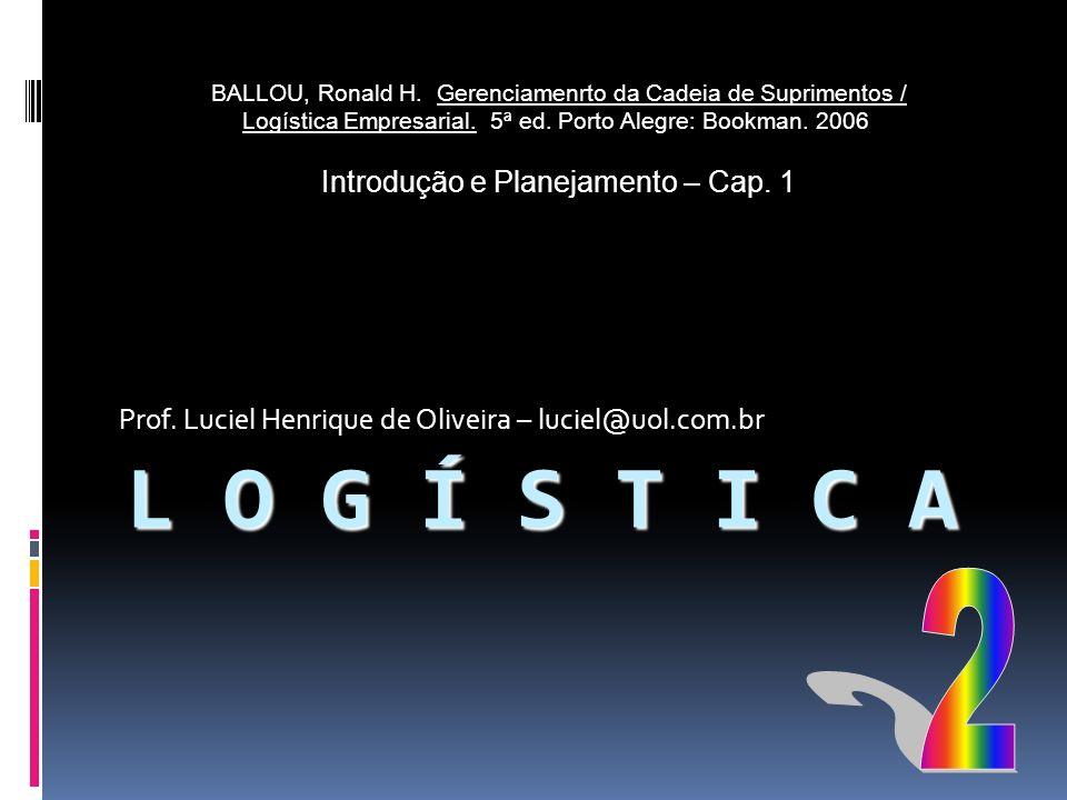 L O G Í S T I C A Prof. Luciel Henrique de Oliveira – luciel@uol.com.br BALLOU, Ronald H. Gerenciamenrto da Cadeia de Suprimentos / Logística Empresar