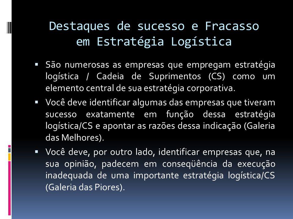 Destaques de sucesso e Fracasso em Estratégia Logística São numerosas as empresas que empregam estratégia logística / Cadeia de Suprimentos (CS) como