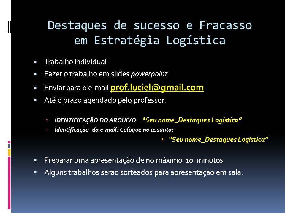 Destaques de sucesso e Fracasso em Estratégia Logística Trabalho individual Fazer o trabalho em slides powerpoint Enviar para o e-mail prof.luciel@gma