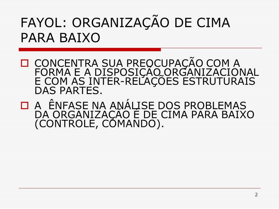 2 FAYOL: ORGANIZAÇÃO DE CIMA PARA BAIXO CONCENTRA SUA PREOCUPAÇÃO COM A FORMA E A DISPOSIÇÃO ORGANIZACIONAL E COM AS INTER-RELAÇÕES ESTRUTURAIS DAS PA