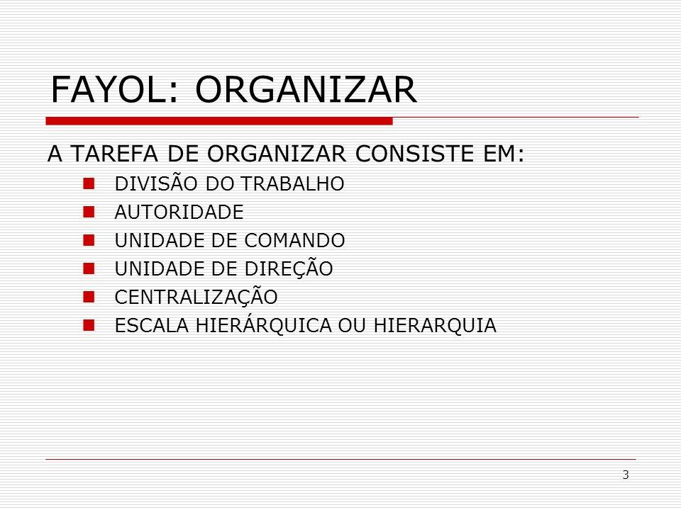 3 A TAREFA DE ORGANIZAR CONSISTE EM: DIVISÃO DO TRABALHO AUTORIDADE UNIDADE DE COMANDO UNIDADE DE DIREÇÃO CENTRALIZAÇÃO ESCALA HIERÁRQUICA OU HIERARQU