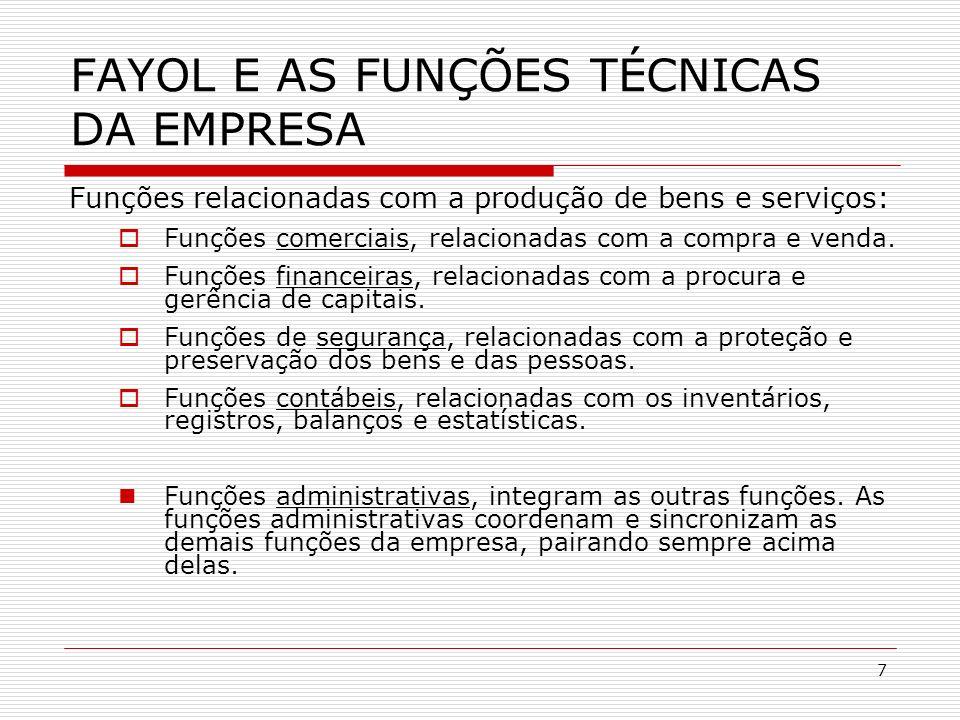 7 FAYOL E AS FUNÇÕES TÉCNICAS DA EMPRESA Funções relacionadas com a produção de bens e serviços: Funções comerciais, relacionadas com a compra e venda