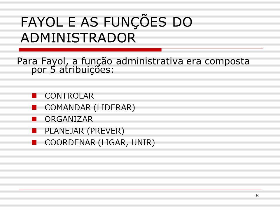 8 Para Fayol, a função administrativa era composta por 5 atribuições: CONTROLAR COMANDAR (LIDERAR) ORGANIZAR PLANEJAR (PREVER) COORDENAR (LIGAR, UNIR)