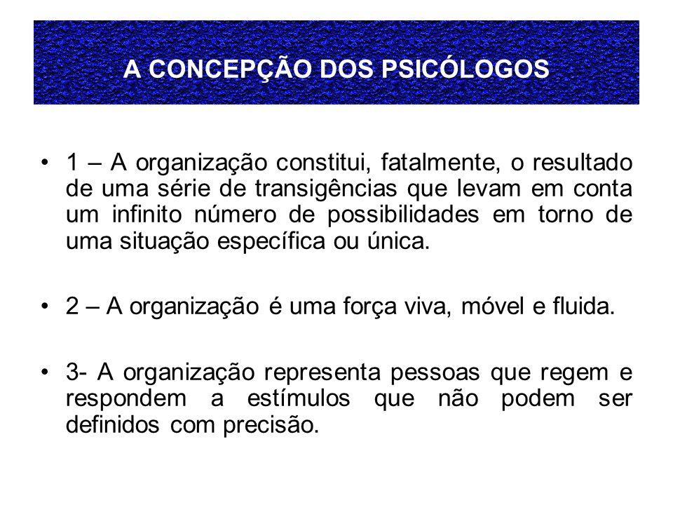 A CONCEPÇÃO DOS PSICÓLOGOS 1 – A organização constitui, fatalmente, o resultado de uma série de transigências que levam em conta um infinito número de possibilidades em torno de uma situação específica ou única.