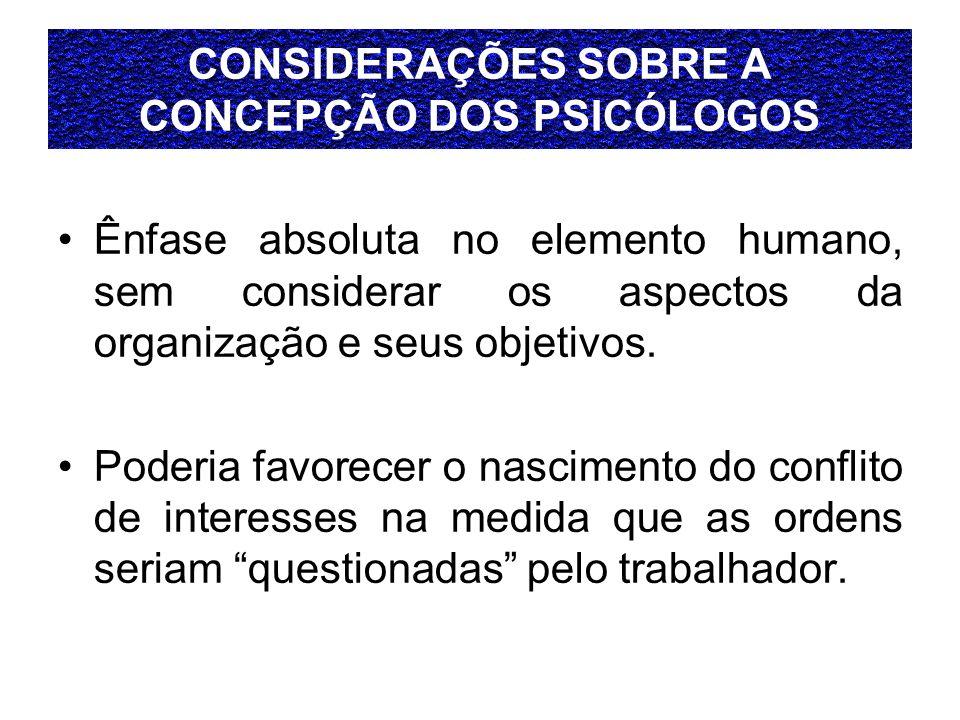 CONSIDERAÇÕES SOBRE A CONCEPÇÃO DOS PSICÓLOGOS Ênfase absoluta no elemento humano, sem considerar os aspectos da organização e seus objetivos. Poderia