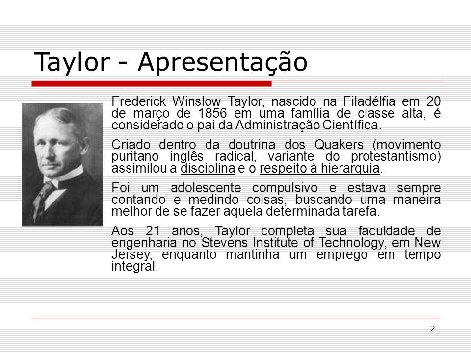 2 Frederick Winslow Taylor, nascido na Filadélfia em 20 de março de 1856 em uma família de classe alta, é considerado o pai da Administração Científica.