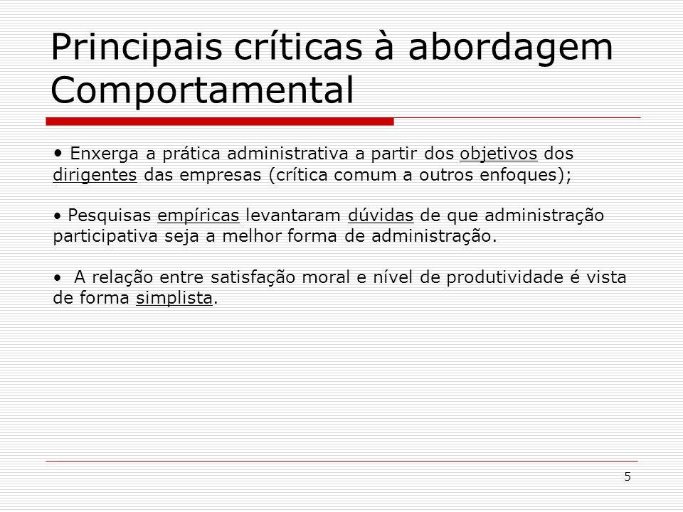 5 Enxerga a prática administrativa a partir dos objetivos dos dirigentes das empresas (crítica comum a outros enfoques); Pesquisas empíricas levantara
