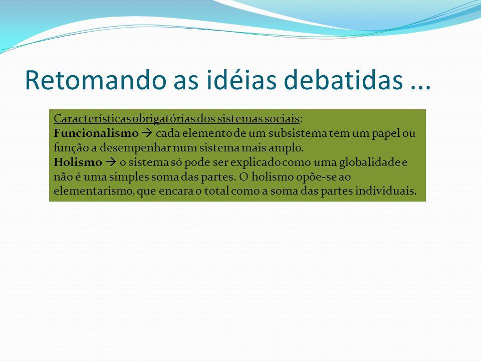Retomando as idéias debatidas... Características obrigatórias dos sistemas sociais: Funcionalismo cada elemento de um subsistema tem um papel ou funçã