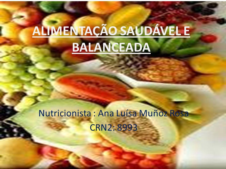 ALIMENTAÇÃO SAUDÁVEL E BALANCEADA Nutricionista : Ana Luísa Muñoz Rosa CRN2: 8993