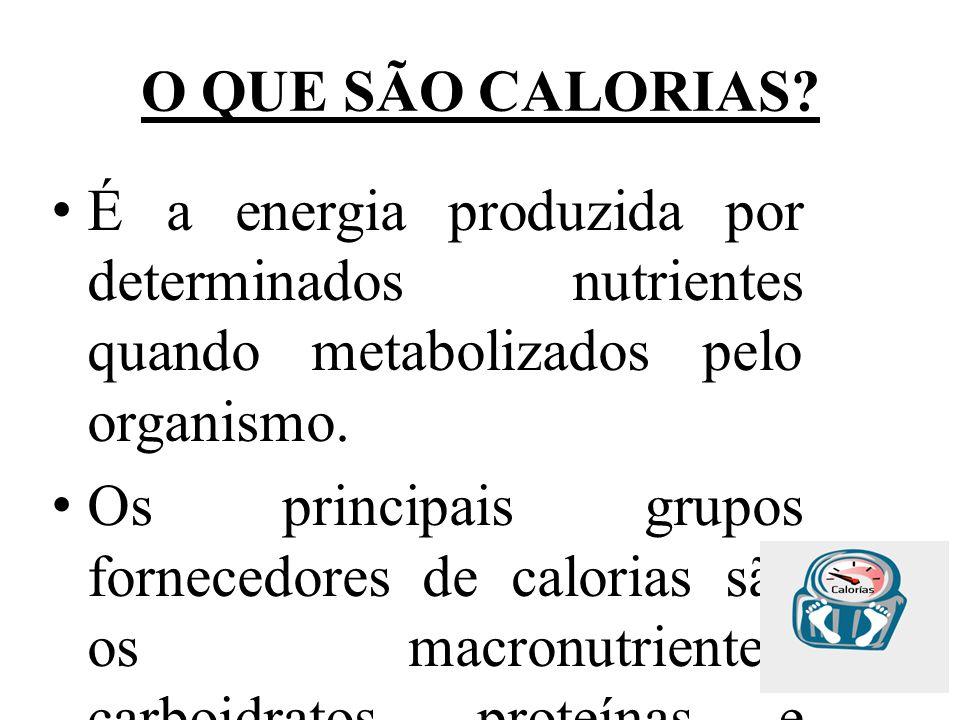 O QUE SÃO CALORIAS? É a energia produzida por determinados nutrientes quando metabolizados pelo organismo. Os principais grupos fornecedores de calori