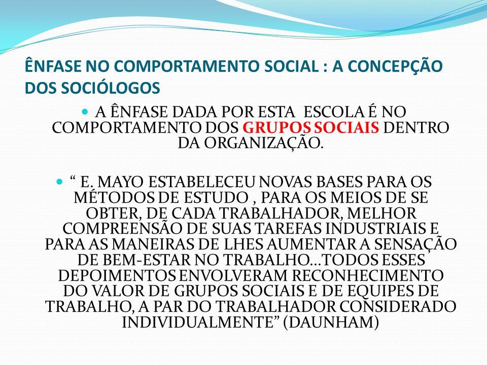 ÊNFASE NO COMPORTAMENTO SOCIAL : A CONCEPÇÃO DOS SOCIÓLOGOS A ÊNFASE DADA POR ESTA ESCOLA É NO COMPORTAMENTO DOS GRUPOS SOCIAIS DENTRO DA ORGANIZAÇÃO.