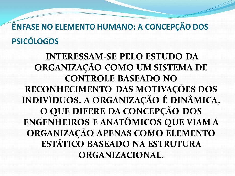 A CONCEPÇÃO DOS PSICÓLOGOS 1 – A ORGANIZAÇÃO CONSTITUI, FATALMENTE, O RESULTADO DE UMA SÉRIE DE TRANSIGÊNCIAS QUE LEVAM EM CONTA UM INFINITO NÚMERO DE POSSIBILIDADES EM TORNO DE UMA SITUAÇÃO ESPECÍFICA OU ÚNICA 2 – A ORGANIZAÇÃO É UMA FORÇA VIVA, MÓVEL E FLUIDA 3 – ORGANIZAÇÃO REPRESENTA PESSOAS QUE REAGEM E RESPONDEM A ESTÍMULOS QUE NÃO PODEM SER DEFINIDOS COM PRECISÃO